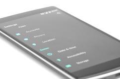 Smart Phone Close Up Settings Menu Royalty Free Stock Images