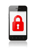 Smart phone with closed lock Stock Images
