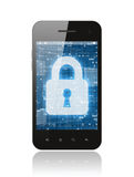 Smart phone with closed lock. On white background, security concept Stock Photos