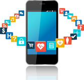 Smart phone with cloud of application icons Stock Photo