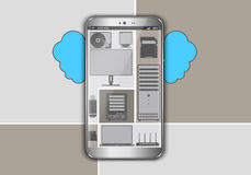 Smart phone in the cloud Royalty Free Stock Images