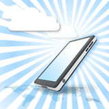 Smart phone with cloud communication. Smart phone with cloud background Stock Photo