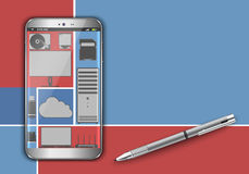 Smart phone in the cloud Stock Photography