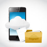 Smart phone cloud computing and files Royalty Free Stock Photos