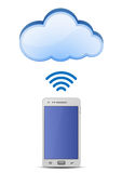Smart phone and cloud network Royalty Free Stock Photos