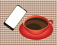 Smart phone with coffee Royalty Free Stock Images