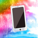 Smart phone on colorful. Watercolor background Stock Image