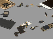 Smart phone components isolate on Gray background Stock Photo