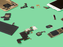 Smart phone components isolate on Green background Stock Photos