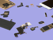Smart phone components isolate on purple background Stock Image
