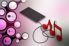 Smart Phone con i segni di musica Immagini Stock Libere da Diritti