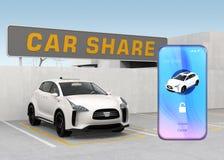 Smart Phone con il car sharing app davanti all'automobile bianca Fotografie Stock