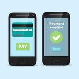 Smart Phone con l'interfaccia mobile piana di pagamento Illustrazione Vettoriale