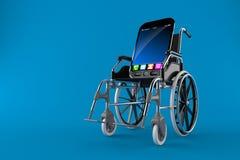 Smart Phone con la sedia a rotelle Fotografia Stock