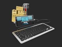 Smart Phone con la tastiera ed il carrello di acquisto, il nero isolato, illustrazione 3d Fotografia Stock Libera da Diritti