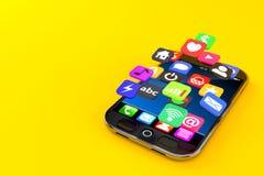 Smart Phone con le icone dell'applicazione Fotografia Stock