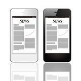 Smart Phone con notizie dal mondo degli affari Fotografia Stock