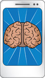 Smart phone. Concept with a brain on the display Stock Photography