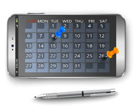 Smart phone concept. Smart phone with calendar and thumbtacks as concept vector illustration