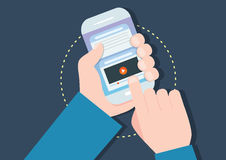 Smart phone concept flat design,  Royalty Free Stock Photography