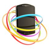 Smart phone concept surrounded with rings isolated Royalty Free Stock Photography