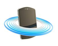 Smart phone concept surrounded with rings isolated Royalty Free Stock Photos