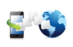 Smart phone connected to the web. folder and globe Royalty Free Stock Images