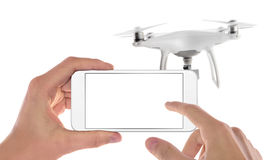 Smart phone control drone. Isolated scene Stock Photo