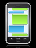 Smart phone with conversation speech bubbles Royalty Free Stock Photo