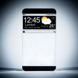 Smart phone (copy space display) with a transparent display. Stock Image
