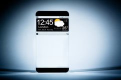 Smart phone (copy space display) with a transparent display. Royalty Free Stock Image