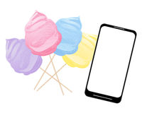 Smart phone with cotton candy Royalty Free Stock Photo
