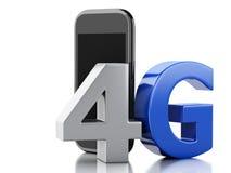 Smart Phone 3d con il segno della radio del lte 4g Concetto di tecnologia Immagini Stock Libere da Diritti