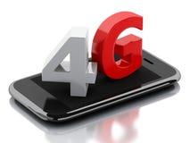 Smart Phone 3d con il segno della radio del lte 4g Concetto di tecnologia royalty illustrazione gratis