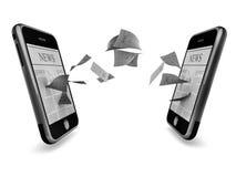 Smart phone data exchange Stock Photos