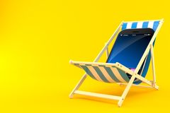 Smart phone on deck chair. On orange background Stock Images