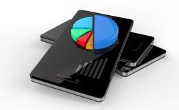 Smart Phone del telefono cellulare 3d e torta del grafico Immagini Stock