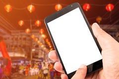 Smart Phone del touch screen dello spazio in bianco della tenuta della mano dell'uomo Fotografie Stock
