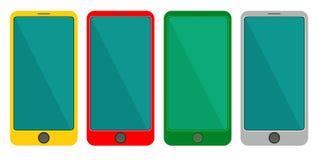Smart Phone dell'insieme colorato Colore giallo, rosso, verde, grigio sui precedenti bianchi Illustrazione isolata vettore Stile  Fotografia Stock Libera da Diritti