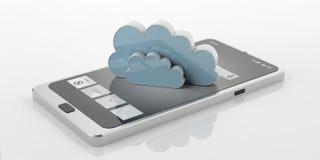 Smart Phone della rappresentazione 3d con la nuvola Immagine Stock Libera da Diritti