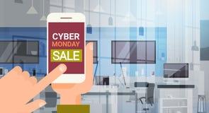 Smart Phone della tenuta della mano con il messaggio cyber di lunedì illustrazione di stock