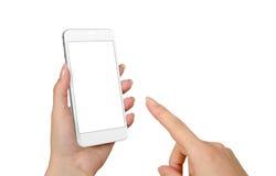 Smart Phone di tocco della mano della donna con lo schermo in bianco isolato per il modello fotografia stock