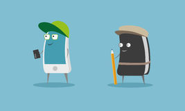 Smart phone and diary cartoon characters. Royalty Free Stock Photos