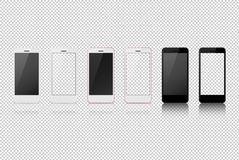 Smart phone with different color, white blank on transparent screen. Vector, high quality Stock Photos