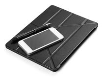 Smart phone and digital tablet with pen on white royalty free stock photo