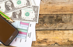 Smart phone and dollars on financial paper graphs Stock Image