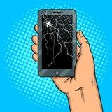 Smart Phone e vettore rotto di Pop art dello schermo Fotografia Stock
