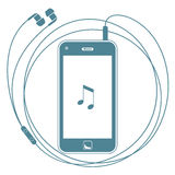 Smart Phone With Earphones Royalty Free Stock Images