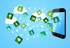 Smart Phone eco friendly icons Royalty Free Stock Photo