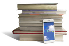 Smart phone in education. Smart phone helps students access information in the cloud Royalty Free Stock Images